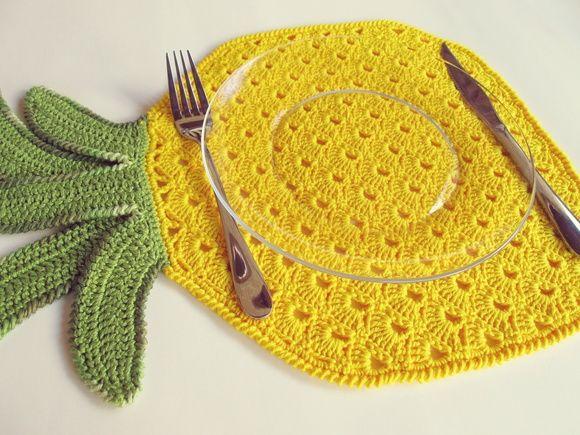 Jogo Americano ABACAXI! Feito em crochê, é para alegrar qualquer cozinha!