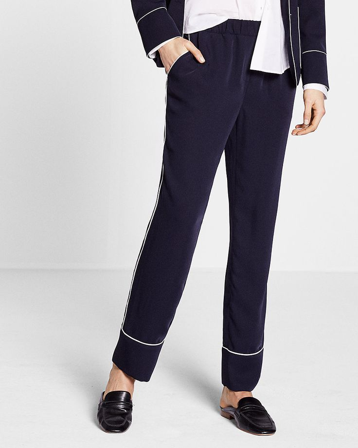 mid rise piped ankle pant