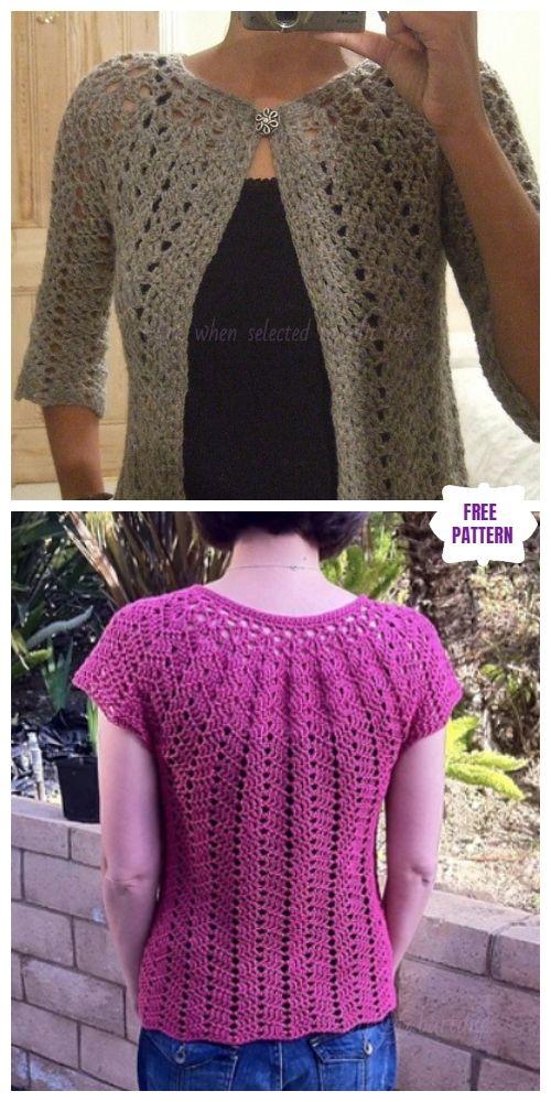 e7fcd115d DIY Crochet Cardigan Sweater Coat Free Patterns-Crochet Chevron Lace  Cardigan Free Pattern