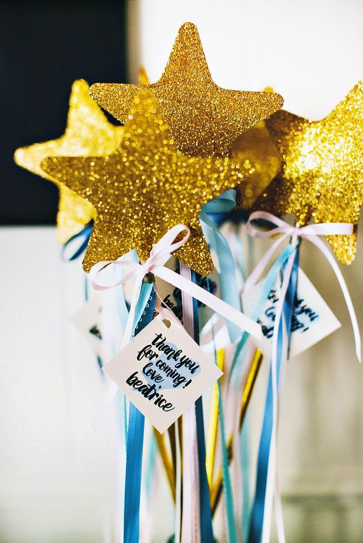 gold fairy godmother wands - cinderella birthday party favors