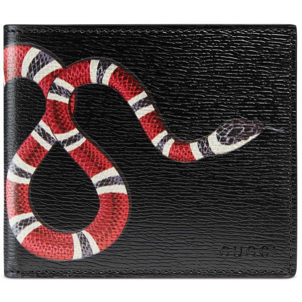 Black Leather With Snake Print ; Eight Card Slots And Two Bill Compartments ; Open: W21Cm X H9Cm ; Closed: W11Cm X H9Cm ; Made In Italy ;
