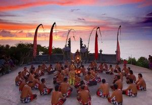 Kecak Dance in Uluwatu, Bali. The most popular place to see Traditional Balinese Dance because of the beautiful sunset.