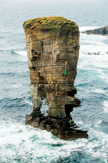 Stacking it by the sea - Peter Vintoniv and James Garrett on the East Arete (E1 5b) on Yesnaby Castle, Scotland.