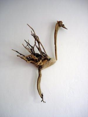A bird made of driftwood - cool sculpture for the backyard...