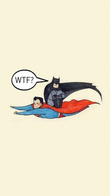 WTF ~ Batman riding Superman | For More Funny iPhone wallpapers visit http://www.techij.com/2013/08/funny-iphone-wallpapers.html #funny #iphone #wallpapers
