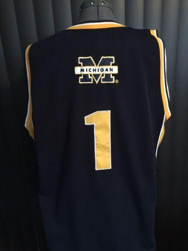"""NCAA Colosseum MICHIGAN WOLVERINES Basketball Jersey """"#1"""" Men's XL Maize"""