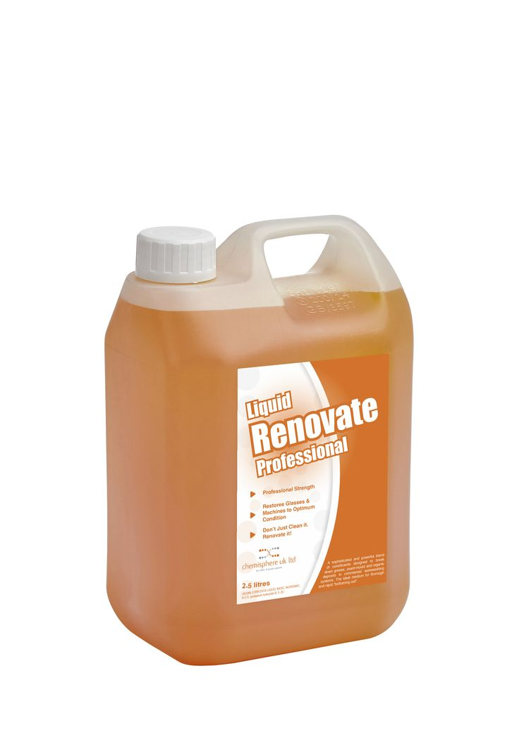 "Liquid Renovate Professional is a sophisticated and powerful blend of constituents designed to break down grease, yeast mould and organic deposits in commercial warewashing systems. The ideal medium for thorough and rapid ""bottoming ot""."