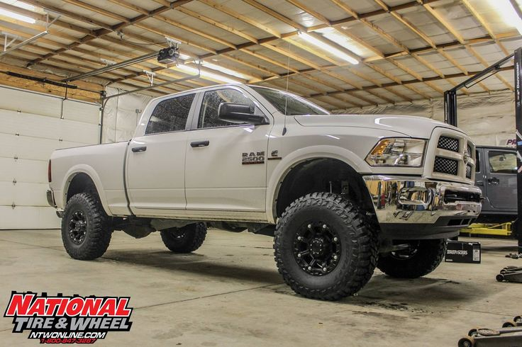 NTW Install: 2016 Dodge 2500 Cummins with a 5in Rough Country Suspension System, 17X9 Gear Alloy Blackjack wheels, and 37X12.50R17 Mastercraft Courser MXT tires.  Like this setup, and want your Dodge to look like this?Then we can help you out! Head over to ntwonline.com to build this package or call (800) 847-3287 to speak to a sales rep.