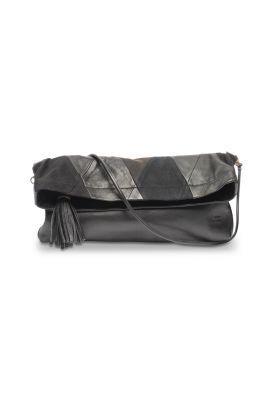 #rockmafia BOB Arlequin noir  Pochette en patchwork de denim & cuir recyclé #70's