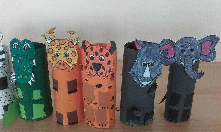zvířata z Afriky, válcové loutky z barevného papíru
