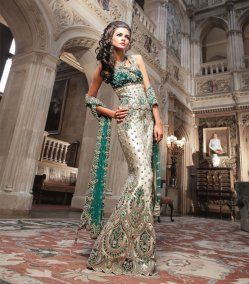 Bridal outfit but in red with green dupata... I like this but not in green... turquoise or hot pink maybe...