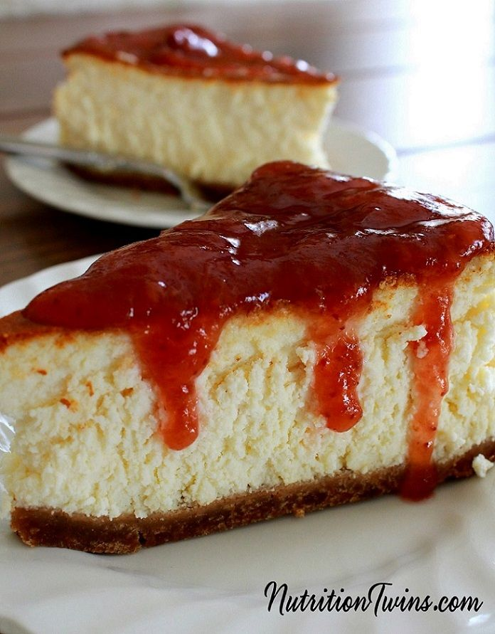 Skinny Cheesecake   Only 188 Calories   Creamy & Rich-tasting, you'd never guess it's lightened up & Save 100s of Calories over Real -For Nutrition & Fitness Tips & RECIPES please SIGN UP for our FREE NEWSLETTER www.NutritionTwins.com
