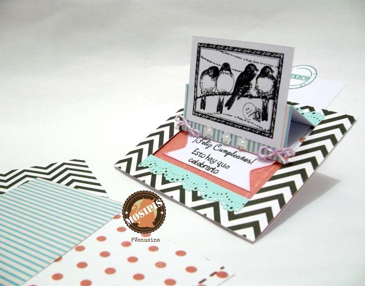 Tarjeta Slide Card con temática de Cumpleaños - Colección Shabby Chris - Hoja  Chevrones/negro.