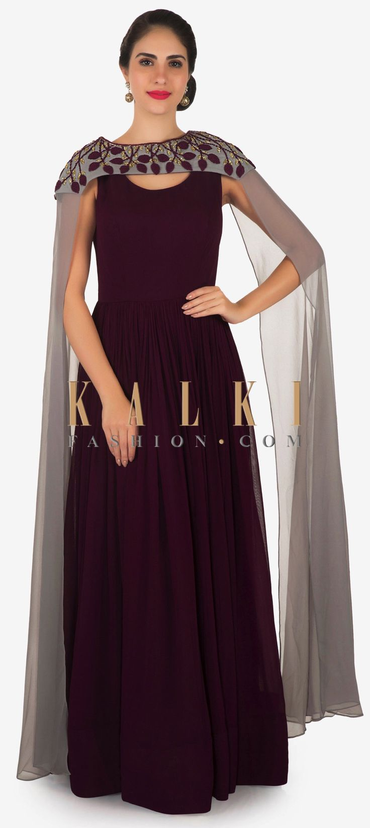 Buy Online from the link below. We ship worldwide Click Anywhere to Tag Burgundy anarkali suit in georgette with french knot embroidered fancy cape only on Kalki   Burgundy anarkali suit featuring in georgette. Matched with fancy cape in long sleeve embellished in french knot embroider. Slight variation in color is possible.