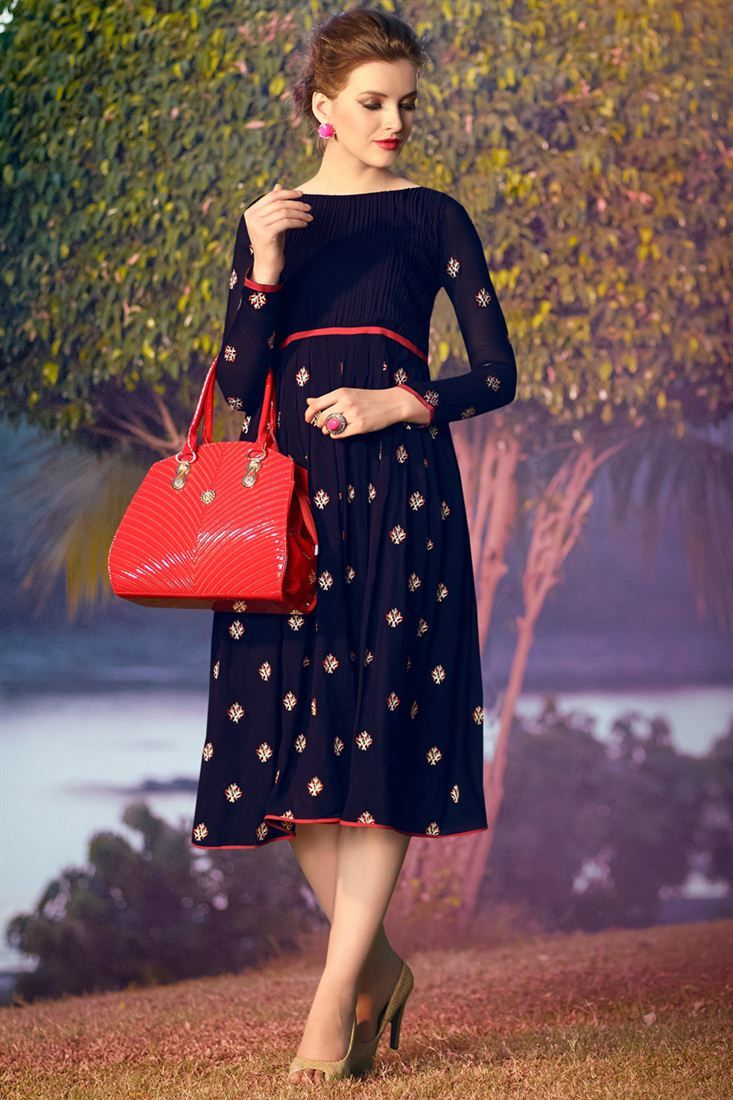 Snazzy Navy Blue Color Party Wear Kurti