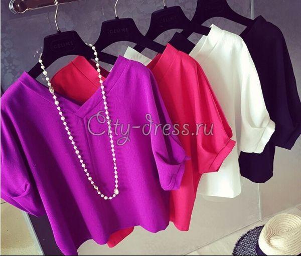 Фото фиолетовая блузка с коротким рукавом фонарик