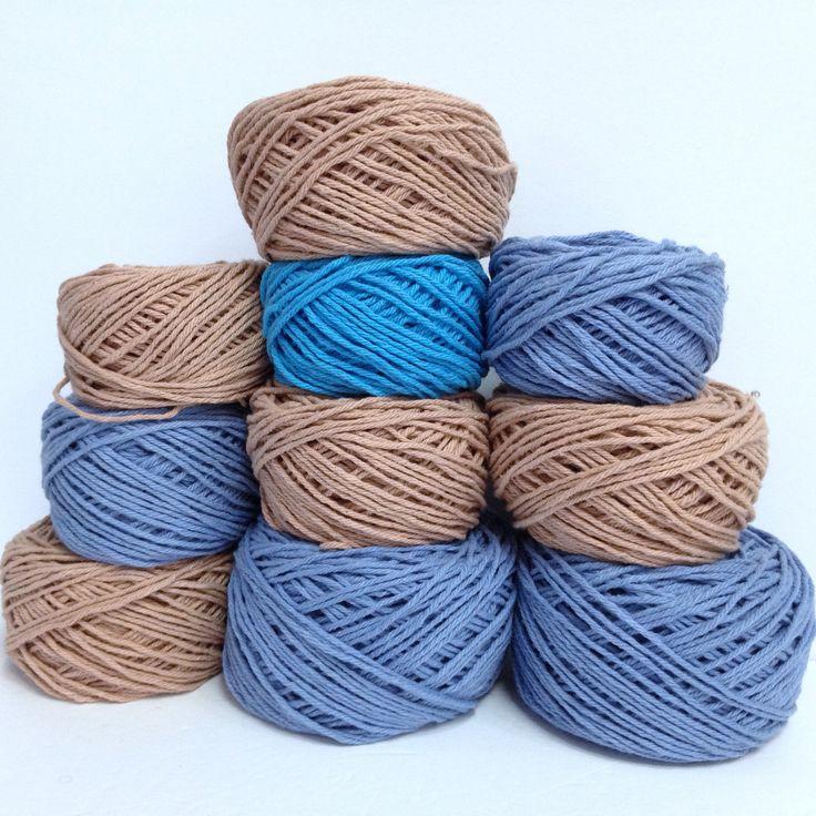 10 Pcs Thick Cotton Yarn Bernat Cotton Handicrafter Yarn Bundle Ultra Soft Worsted Cotton Yarn Destash, 100% Cotton Brown & Blue Yarn by HeyJudeCollection on Etsy
