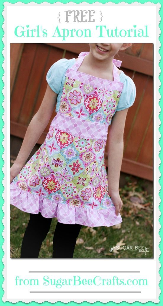 a FREE Girl's Apron Tutorial pattern ~ Sugar Bee Crafts | Because Anna wants a skull apron. Sigh. I think it's because Olaf doesn't have a skull. LD