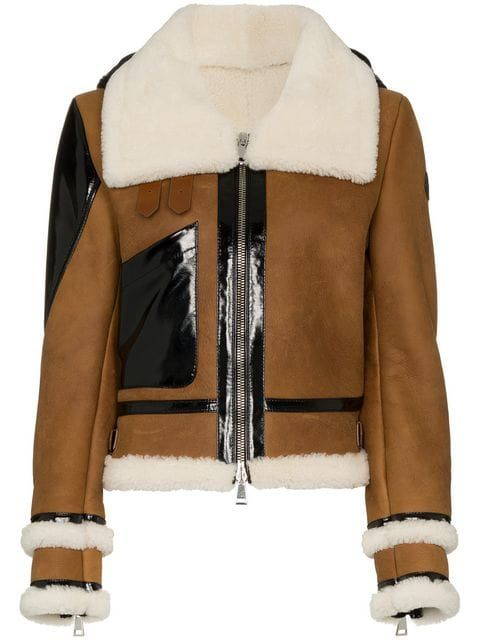 62c1fb3c1 Moncler Crabier Crop Shearling Jacket With Down Hood in 2019   COATS ...