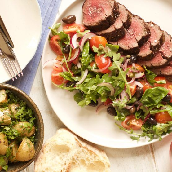 Eye Fillet with Mediterranean Salad and Herby New Potatoes by Nadia Lim | NadiaLim.com