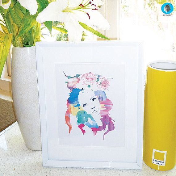 girl with flowers in her hair watercolour rainbow by SkyeJack, $20.00 boho hippie illustration