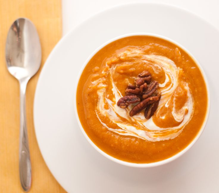 Chipotle sweet potato soup with spicy pecans