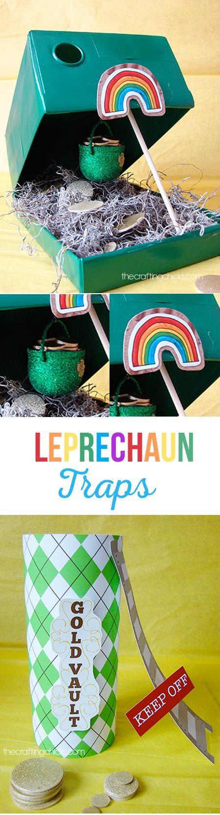 Make a Leprechaun Trap to catch a mischievous little leprechaun this St Patricks's Day. via @craftingchicks