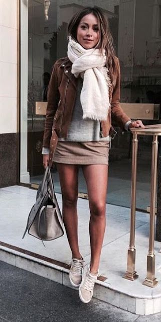Neutral look | Brown jacket, pale brown skirt, sneakers and scarf