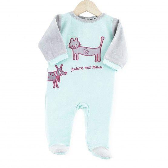 """Pijama """"Minino"""" #pijama #bebe #niña #gatito #minino #verde #gris #rose #kinousses"""
