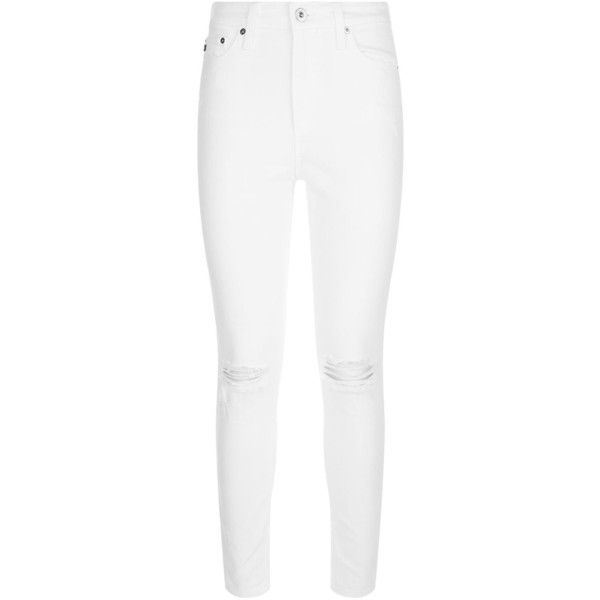 AG Jeans Mila Ripped Knee Jeans ($215) ❤ liked on Polyvore featuring jeans, pants, bottoms, ripped jeans, high rise skinny jeans, cropped skinny jeans, white distressed jeans and high waisted ripped jeans