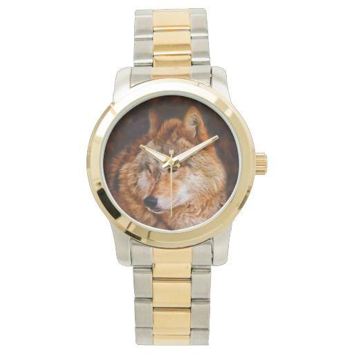 Red wolf fractal wrist watch