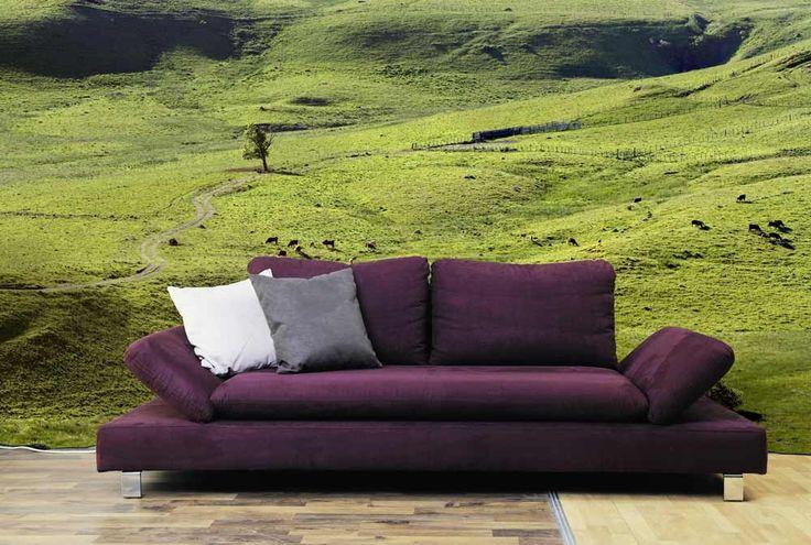 Pâturages - Papier peint panoramique moutons en alpage