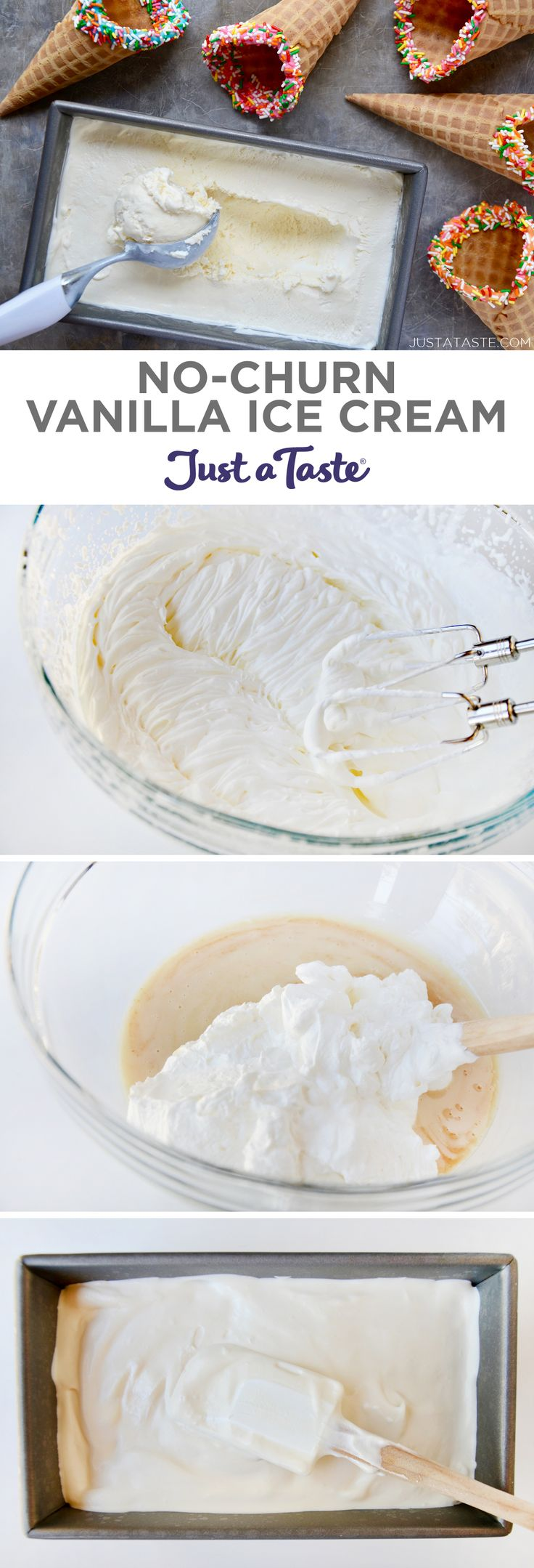 No-Churn Vanilla Ice Cream recipe from justataste.com #recipe #nochurnicecream #summer @justataste