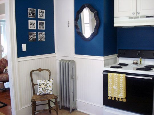 Flickr find antique mirror in navy blue kitchen navy for Blue and white kitchen cabinets