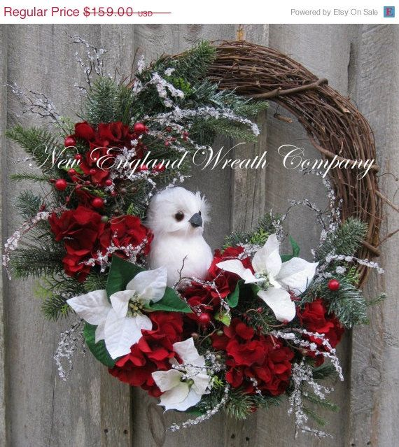 Poinsettia  Red Hydrangea Christmas Wreath with Owl #grapevine