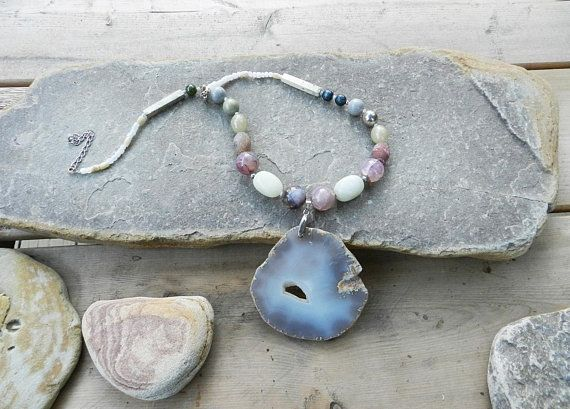 Statement chunky Agate necklace, gemstone natural jewelry