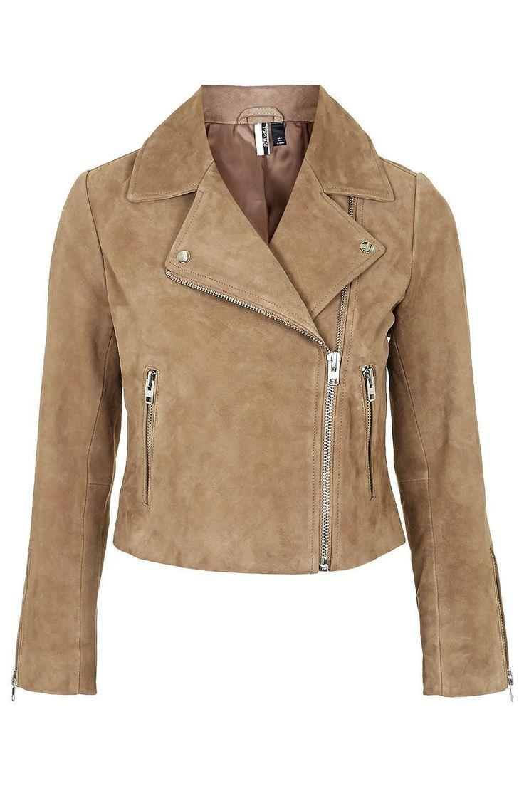 Suede Biker Jacket - Topshop