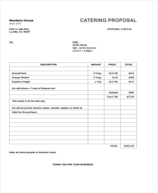 Catering Proposal Templates 10 Catering Templates Services Proposal Templates Proposal Proposal Letter