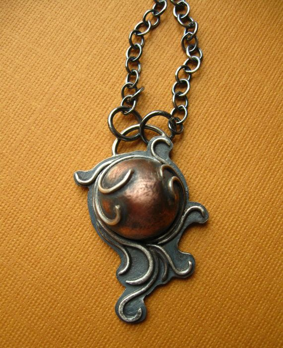 Art Nouveau Sterling Silver Necklace with Copper and Vines. Jane Font, via Etsy.