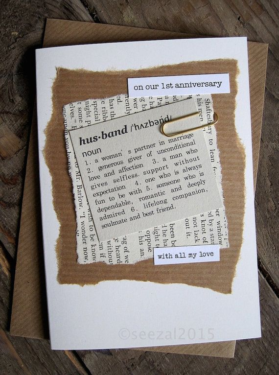 Unusual handmade anniversary card for Husband. A collage incorporating vintage…
