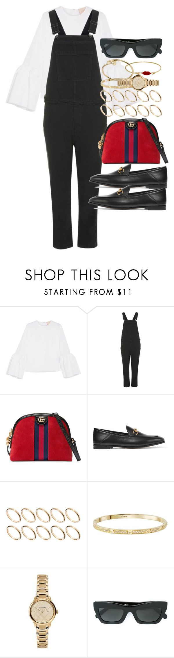 """""""Sin título #4631"""" by hellomissapple ❤ liked on Polyvore featuring Roksanda, Topshop, Gucci, ASOS, Cartier, Burberry and CÉLINE"""