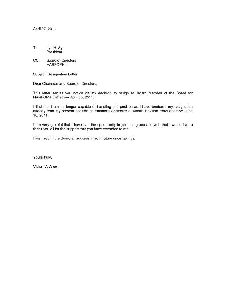 board member resignation letter sample best 25 resignation sample ideas on pinterest job resignation - Board Member Resignation Letter Sample