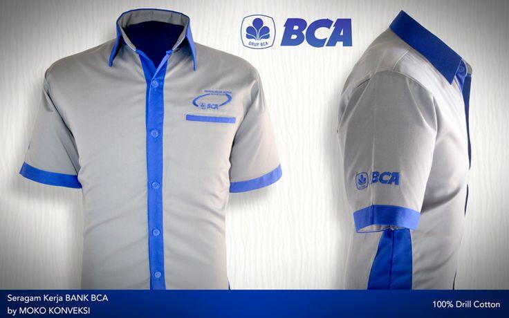 Desain Seragam Kerja Bank BCA [Semarang - Jawa Tengah - Indonesia] by @mokokonveksi   Baju kerja perbankan warna silver dengan aksen warna biru dan finishing detail bordir, cocok untuk memberikan tampilan yang standout.