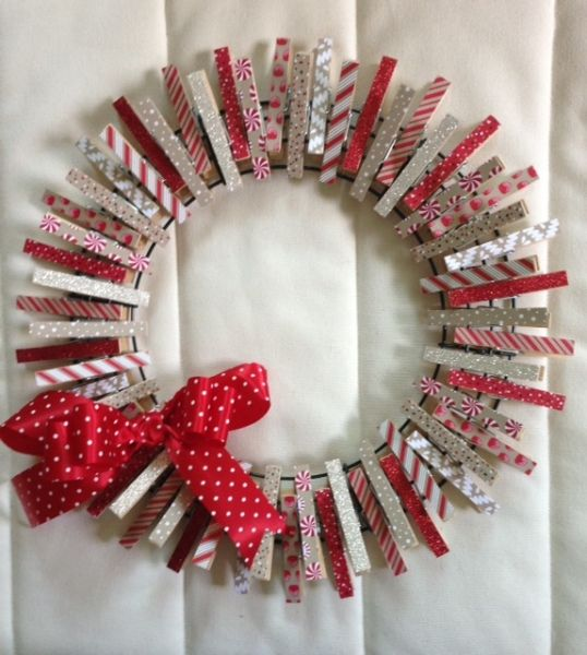 Clothes Pin Wreath with new Christmas DSP