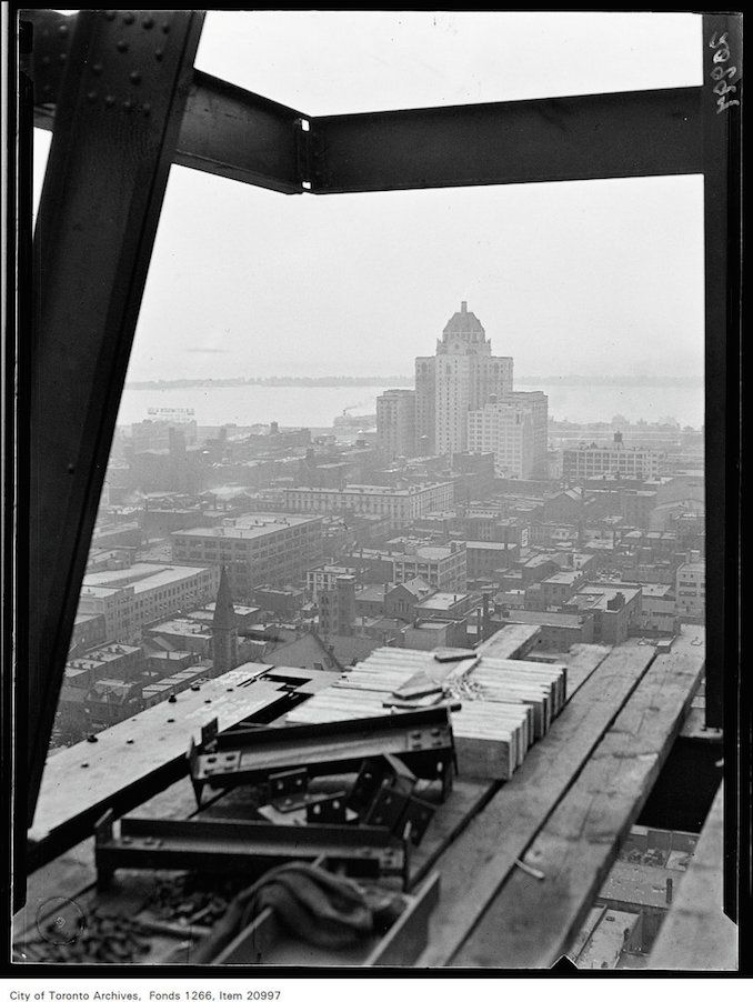Canada Life Building under construction, view of Royal York Hotel from 16th floor, ca. July 5, 1930