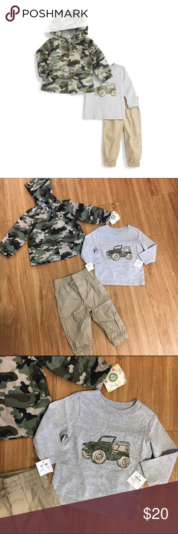 NEW NWT Little Me Outfit Camo Jeep 12 Mo Your little one will be ready for the great outdoors with a camo-print hooded jacket that features a cool patch. Pair it with the long-sleeve graphic T-shirt and khaki pants for a rugged-looking ensemble. * Jacket