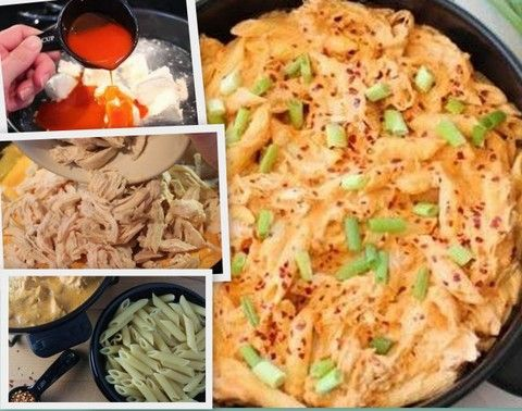 Buffalo Chicken Pasta, sub ranch dressing for the bleu cheese. And I hear the sauce makes a great dip too.