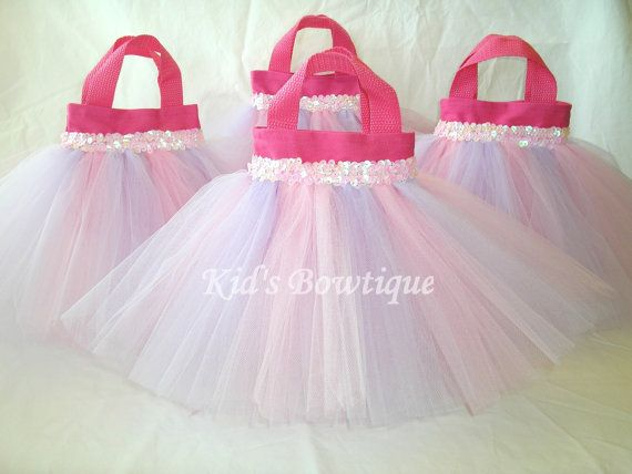 Set of 8 Pink and Lavender Party Favor Tutu Bags - birthday party decorations via Etsy