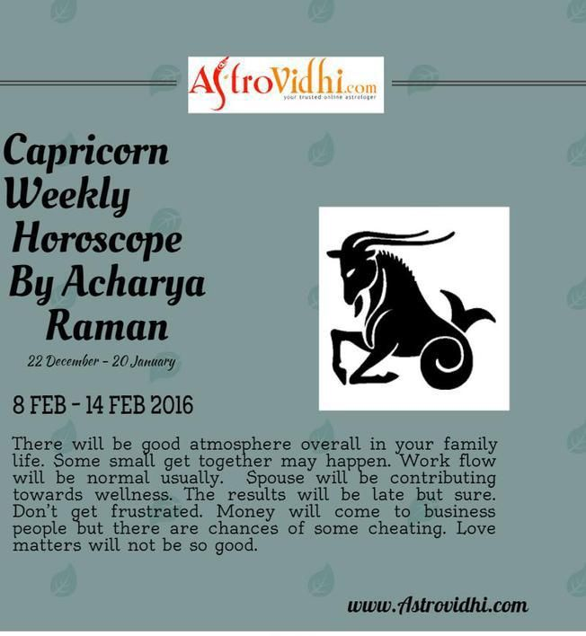 Check your Capricorn weekly Horoscope ( from 8 Feb to 14 Feb 2016 ) and plan your full week accordingly.