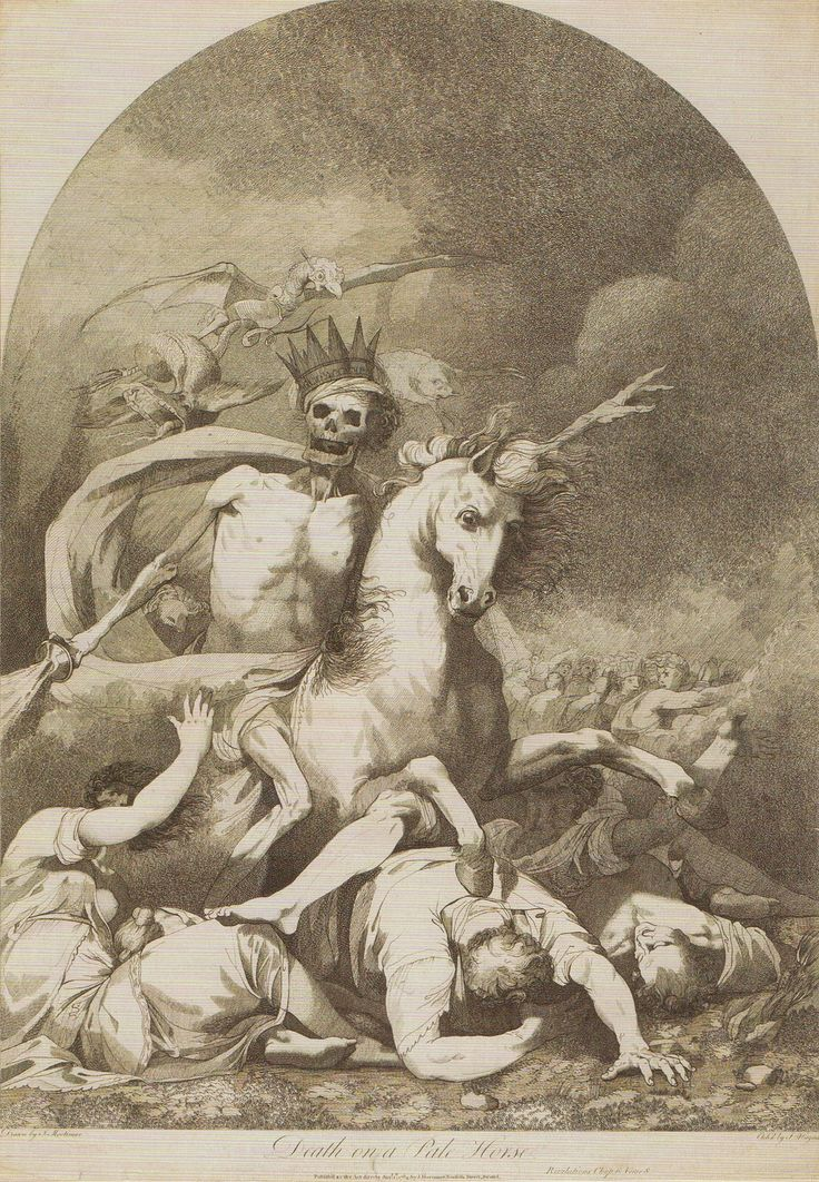 Death riding a pale horse being followed by hell by john